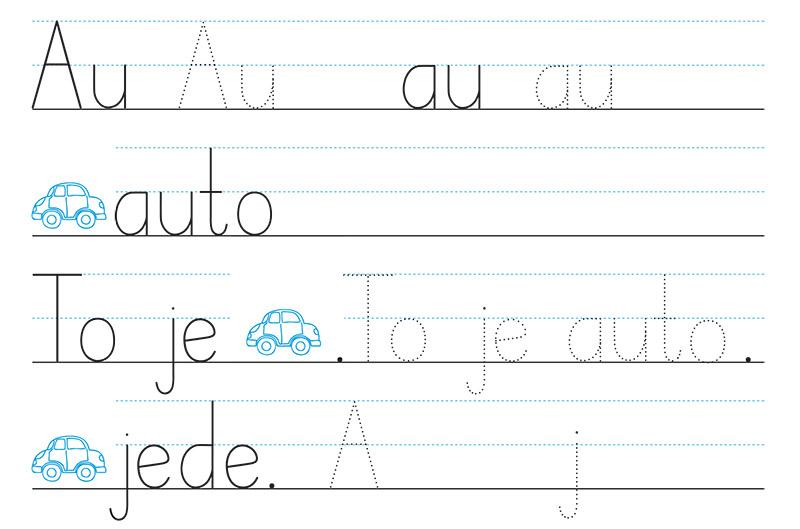 Žáci se naučí správný tvar písmene a ihned ho užívají ve slabikách a slovech. Slova pak zařazují do jednoduchých vět a později nacvičují také psaní krátkých vět.